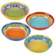 Certified International Valencia Soup/Pasta Bowl (Set of 4), 23cm , Multicolor