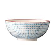 Bloomingville Ceramic Carla Bowl with Cream Background, Blue/Red Trim