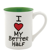 Our Name Is Mud 470ml 'I Heart My Better Half' Mug by Lorrie Veasey, 11cm