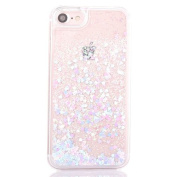iPhone 7 Case [With Free Tempered Glass Screen Protector],Mo-Beauty® iPhone 7 12cm inch Glitter Case,Creative Design Flowing Liquid Floating Flowing Bling Shiny Sparkle Glitter Crystal Clear Plastic Hard Case Protective Shell Case Cover For Apple iPhon ..