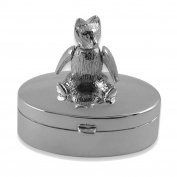 Sterling silver oval teddy bear tooth box