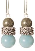 Nitesh Earrings - Sterling Silver - Pyrite and Amazonite