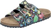 Softwaves 474-197 Girls Children's Backless Sandals Sandals Clogs Navy-Black Flower