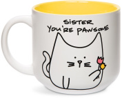 Pavilion Gift Company Blobby Cat, Funny Cat Sister You're Pawsome Mug, 530ml, Yellow