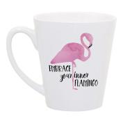 High Tide Mugs Embrace Your Inner Flamingo Inspirational Coffee Latte Mug Gift for Her, 350ml