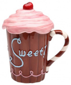 Appletree Design Life Is Sweet Mug with Pink Lid, 15cm