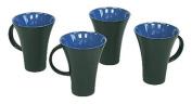 Hues & Brews 4 Piece Mug Set, 300ml, Periwinkle & Black
