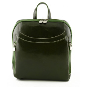 Made In Italy Leather Backpack With Front Pockets Colour Green Tuscan Leather - Backpack