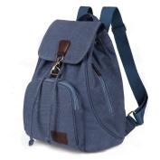 Women Ladies Retro Canvas Backpack, WITERY Vintage Design Trendy Rucksack Casual Travel Shoulder Bag / Portable Handbag / College Daypack Backpack / Computer Laptop Bags Blue