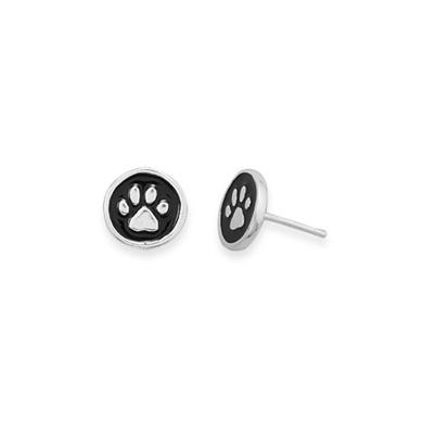 Paw Print Stud Earrings Black and Sterling Silver 9mm Diameter