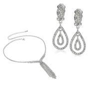Topwholesalejewel Bridal Jewellery Set Silver Rhinestone Chain Necklace Clip Earring Set For Wedding