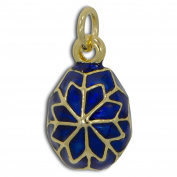 Blue Snowflake Russian Royal Faberge Egg Pendant Necklace 48cm