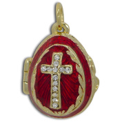 Crystal Cross on Red Royal Russian Faberge Egg Pendant Necklace 48cm