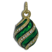 Green Spire Royal Russian Faberge Egg Pendant Necklace 48cm
