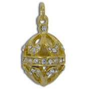 Gold Tone Crystal Egg Royal Russian Faberge Egg Pendant Necklace 48cm