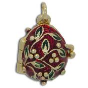 Ladybug Charm Red Russian Faberge Egg Pendant Necklace 48cm