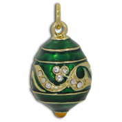 Green Wave Russian Faberge Egg Pendant Necklace 48cm