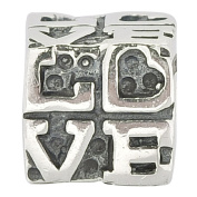 Authentic 925 Sterling Silve Love Letter Cubic Solid Love Heart Bead Fits Pandora Charms