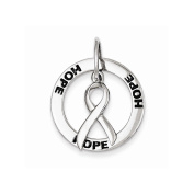 Sterling Silver Hope Circle & Cancer Awareness Ribbon Pendant