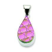 Sterling Silver Pink Dichroic Glass Teardrop Pendant
