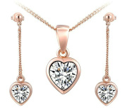 Womens Earring Necklace Sets 18k Gold Plated Rose Gold Heart Shape by Aienid