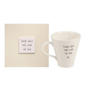 East of India Laugh Often Sit Long Mug in Wooden Gift Box, Porcelain/Wood