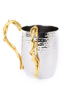 Classic Touch MIW67N Hammered Stainless Steel Bamboo Wash Cup, Silver