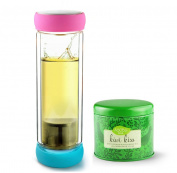 Asobu Twin Lids Double Wall Glass Tea Bottle with Kiwi Kiss Tea, Fuchsia/Teal