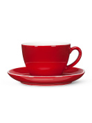 Abbott Collection Red Diner Look Latte Cup and Saucer