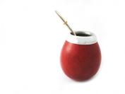Mategreen M0059 Argentina Yerba Mate Gourd Cup with Straw, Dark Orange