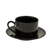 10 Strawberry Street BRB00096 Rim Can Cup/Saucer, Set of 6, Black