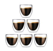 Happy Sales Set of 6 Double Wall Insulated Glass Teacup Coffee cups Tumblers 180ml, Clear