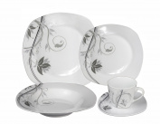 Lorenzo Import Porcelain 20-Piece Square Dinnerware Set Service for 4, Grey