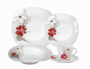 Lorenzo Import Porcelain 20-Piece Square Dinnerware Set Service for 4, Red