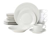 Gibson Rosendal 30 Piece Round White Dinnerware Set, White