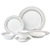 Lorren Home Trends 24 Piece Porcelain Dinnerware Set Verona, Silver