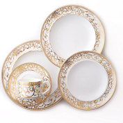 CRU by Darbie Angell Athena 24Kt 5 Piece Place Setting, Gold/White