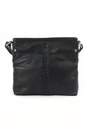 Black Leather Plait Detail Leather Shoulder Bag