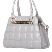 celebrity Style Patch Jewel Fashion Patent Skin Handbag Embossed Shoulder Bag Grey Quilted Bag for all occasion