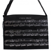 PartyErasers Music Themed Black I Love Music Musical Note Messenger/ crossbody Bag