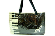 PartyErasers Music Themed . Horizontal Tote Bag - Canvas with Soft PVC layer Waterproof - Black Keyboard