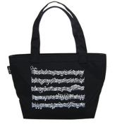 PartyErasers Music Themed Black Musical Note Small Tote Bag