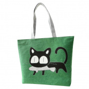 JJ Store Womens Canvas Cat Tote Shoulder Bag Shopping Tote Handbag