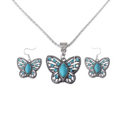 .  Turquoise Butterfly Pendant & Drop Dangle Earrings Jewellery Set for Women