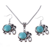 .  Turquoise Elephant Pendant & Drop Dangle Earrings Jewellery Set for Women