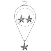 .  Turquoise Starfish Pendant & Drop Dangle Earrings Jewellery Set for Women