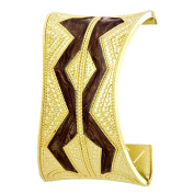 Wide Aztec Pattern Brown and Gold Tone Cuff with Spring Closure