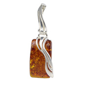 "Sterling Silver and Baltic Rectangle Amber Pendant ""Ewa"""