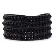 Black Wrap Bracelet Crystal Multilayer 4mm Handmade Genuine Black Leather Woven Bangle