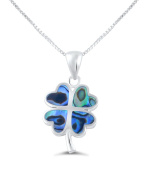 Sterling Silver Sahmrock, Abalone Shell Lucky four Clover Loving Hearts Necklace Earrings Set